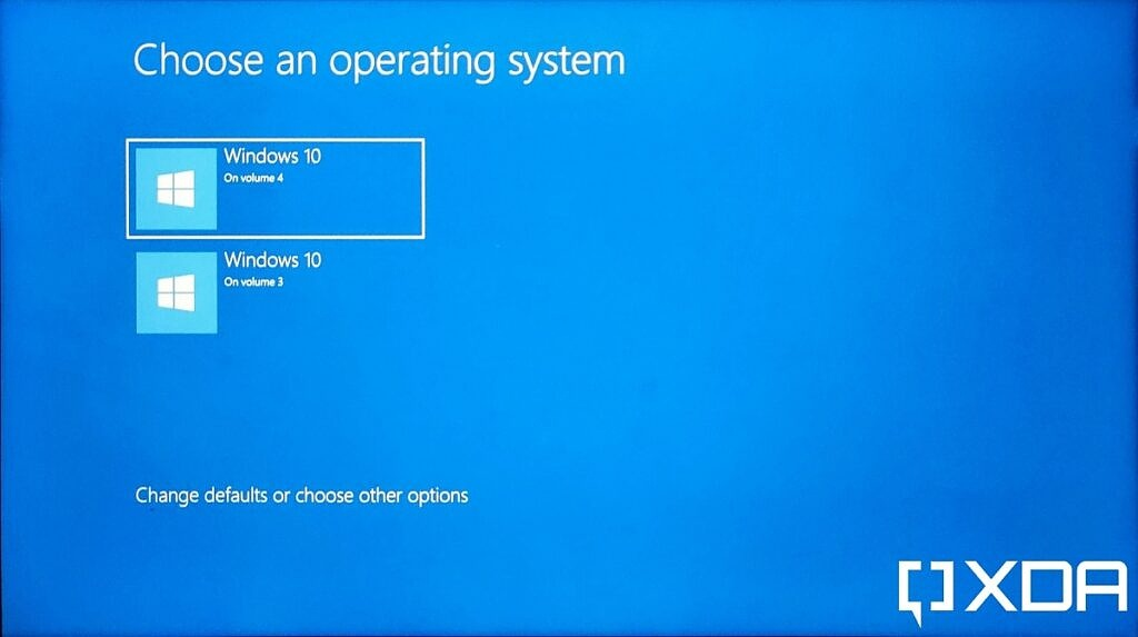 Option to choose an operating system when dual-booting