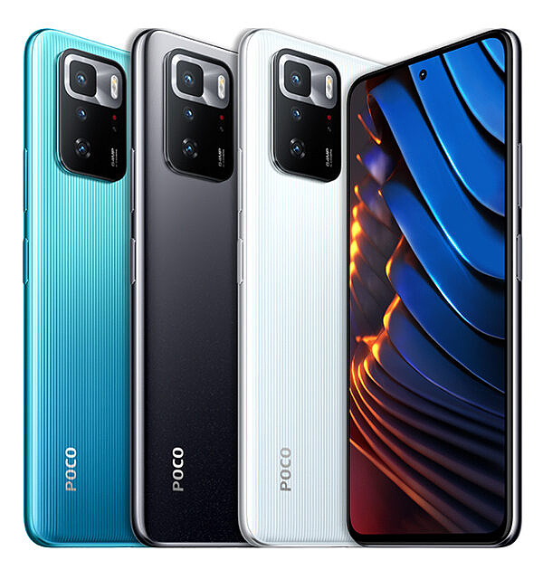 POCO X3 GT in all three colorways on white background
