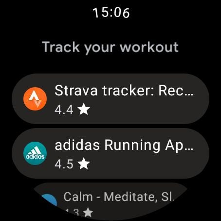 Wear OS Play Store showing workout apps