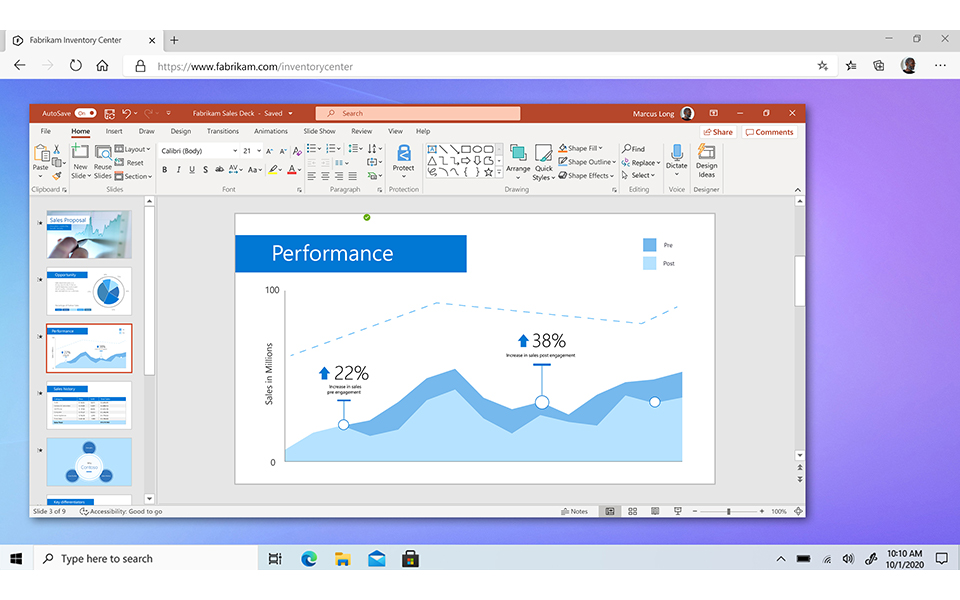 Windows 365 with PowerPoint open