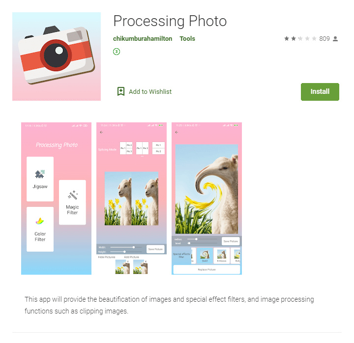 Google Play listing of Processing Photo