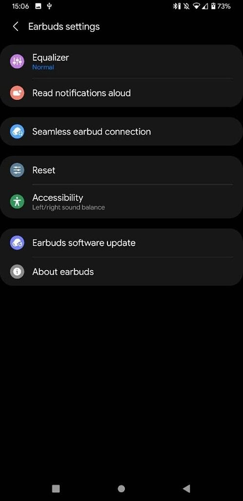 connected to Samsung Wearable app with settings
