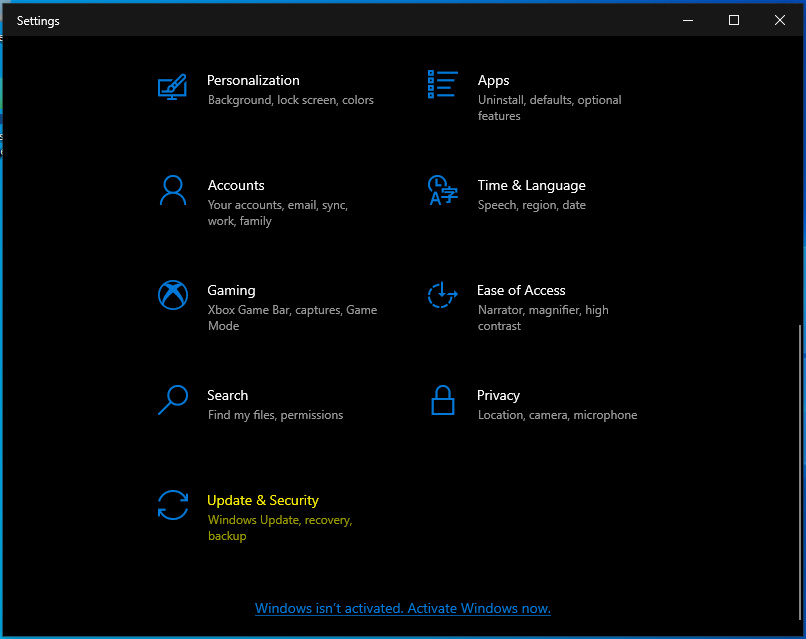 Windows 10 Settings screen with Updates & security highlighted