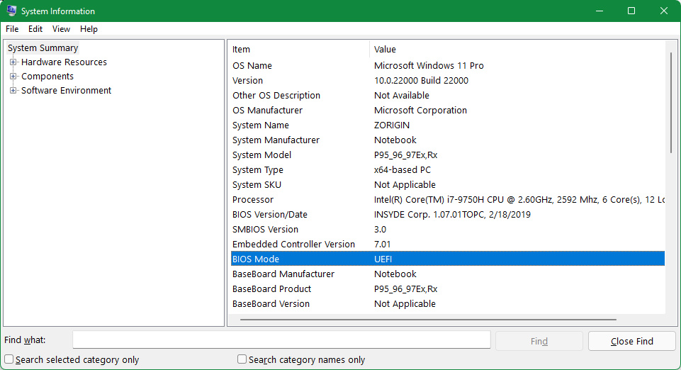 An image showing the BIOS Mode in System Information in Windows 10/11.