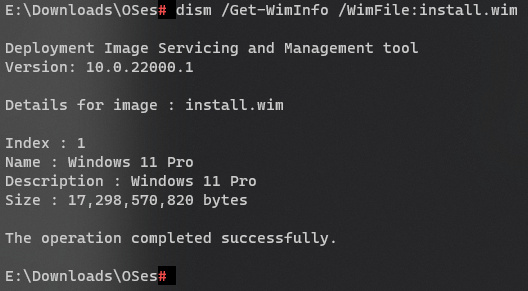An image showing the edition information inside an install WIM file