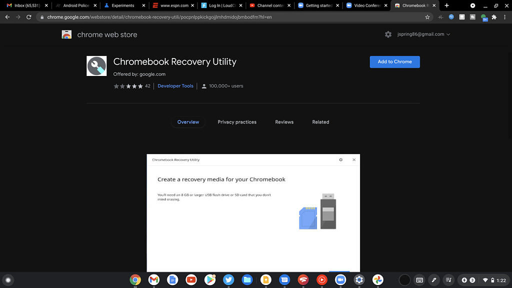 Chrome OS recovery utility in Chrome store