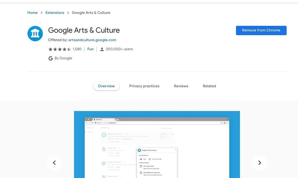 Google Arts and Culture extension for Chrome OS