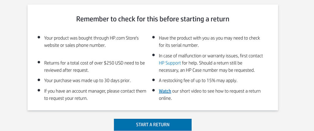 HP.com official return policy