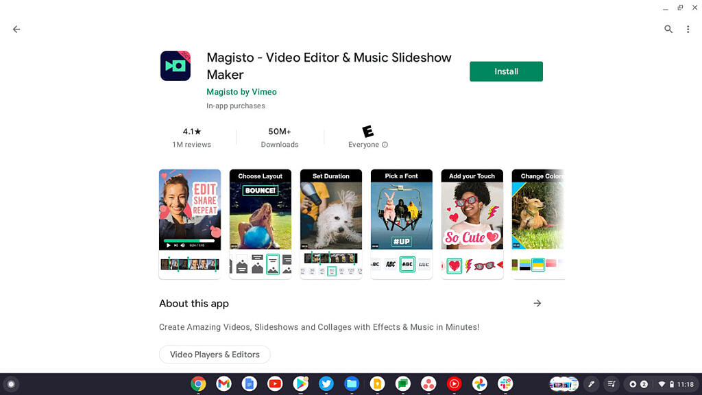 Magisto play store page