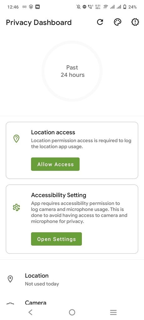 Homescreen of the Privacy Dashboard app