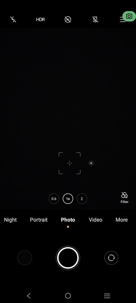 Privacy Dashboard app showing the camera indicator in the top right corner