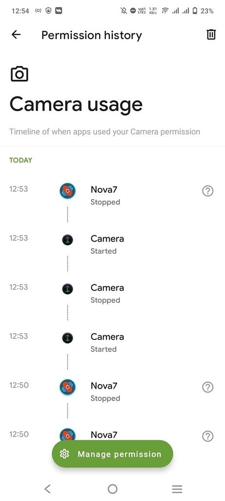 Camera permission section in the Privacy Dashboard app