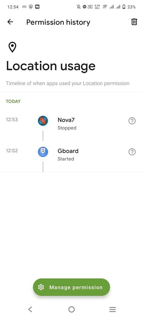 Loaction permission timeline in the Privacy Dashboard app