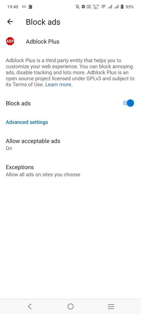 Ad blocker feature in Microsoft Edge for Android