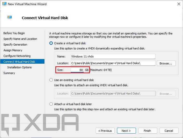 Setting an 80GB size for a virtual hard disk
