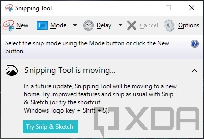 Classic Snipping Tool in Windows