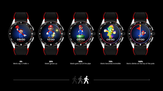 Super Mario gamification on the TAG Heuer Connected Super Mario Limited Edition