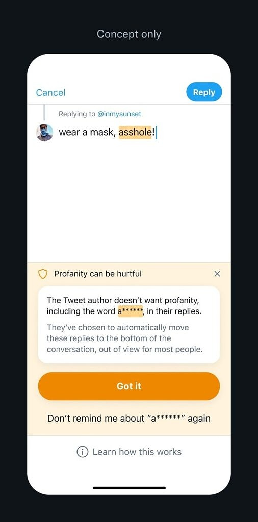 Twitter reply preference prompt