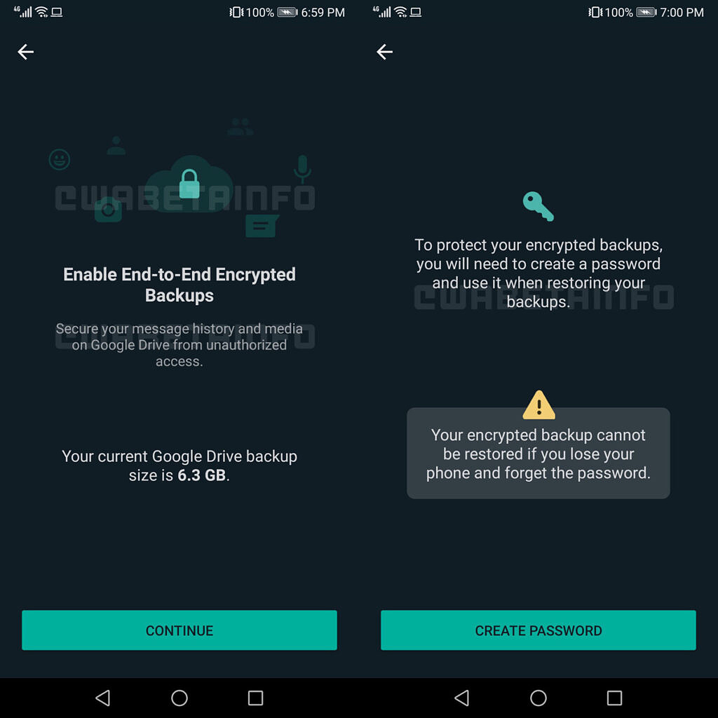 WhatsApp end-to-end encryption backups