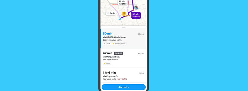 Waze now warns you about traffic and detours before you start driving