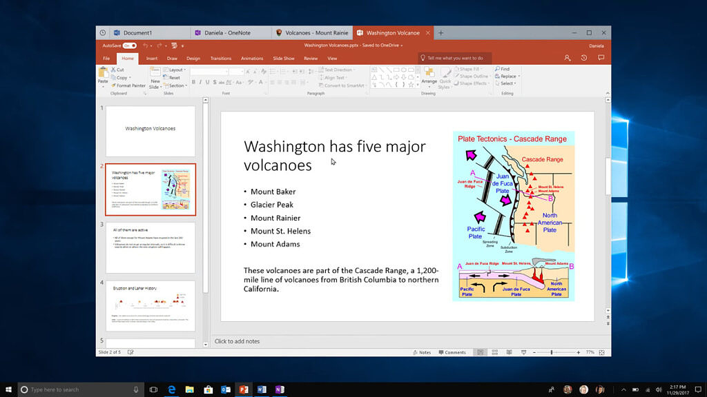 PowerPoint presentation in Windows 10's old Sets feature