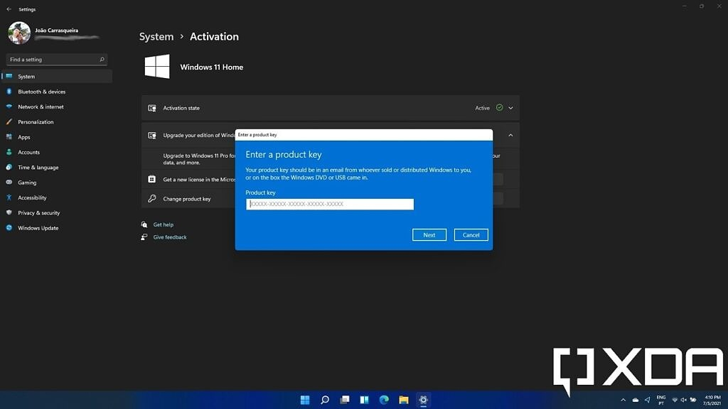 Enter a Windows 11 Pro activation product key to upgrade from Windows 11 Home
