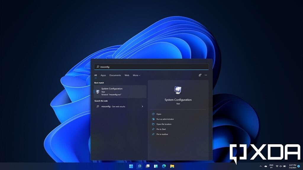 Windows 11 search showing System Configuration