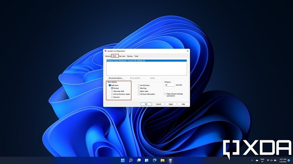 Windows 11 System Configuration app with Safe boot enabled