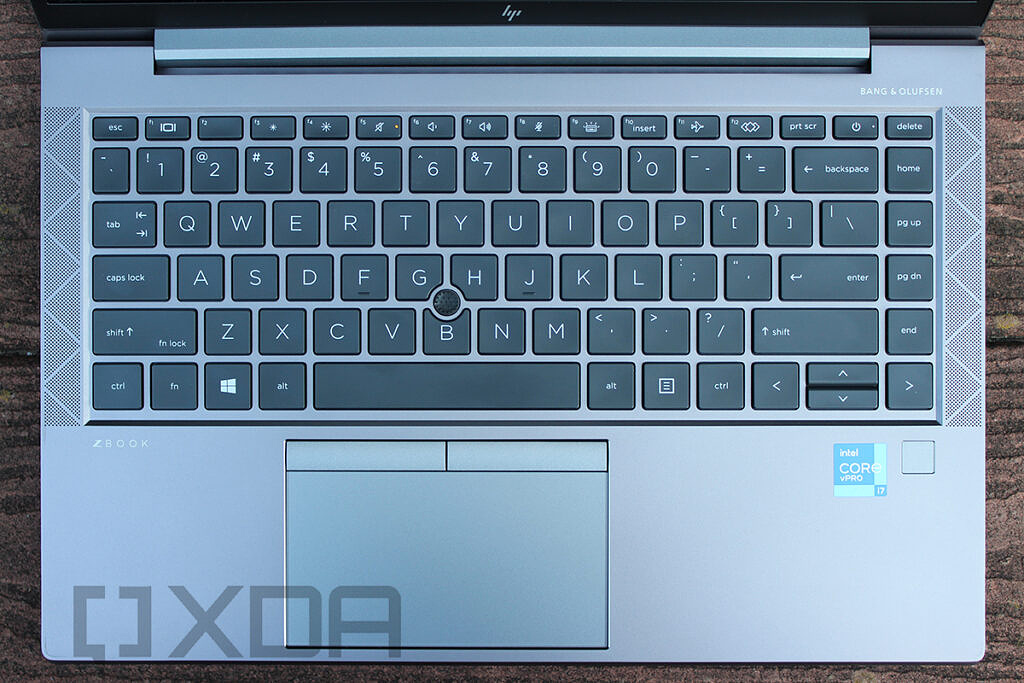 Top down view of HP ZBook Firefly G8 keyboard