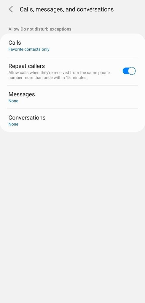 Calls, Notifications exception on Samsung DnD