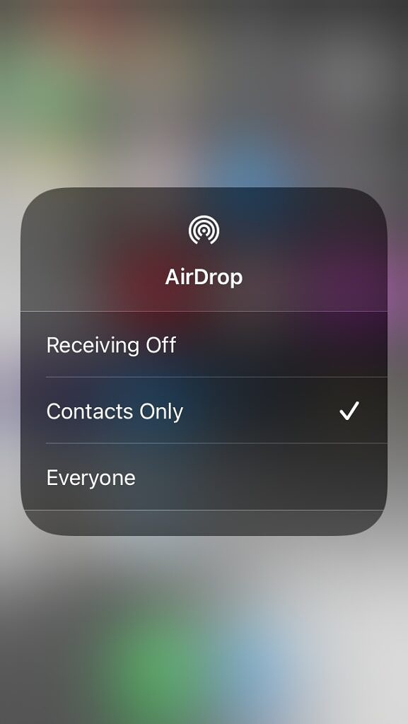 iPhone AirDrop options