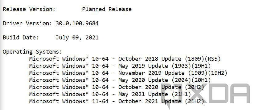 Operating system support list for Intel driver