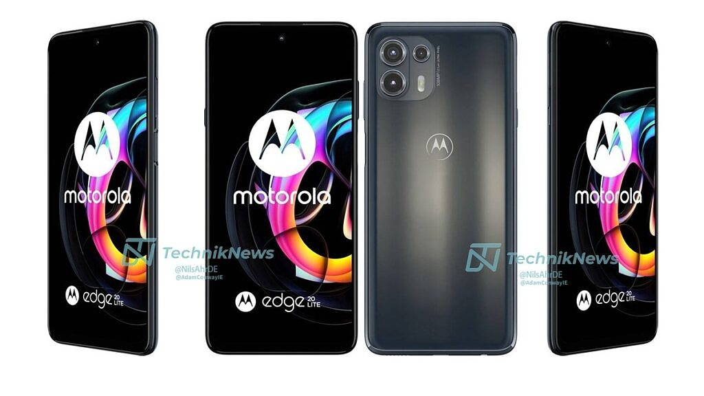 Motorola Edge 20 Lite shown from all angles in gray color