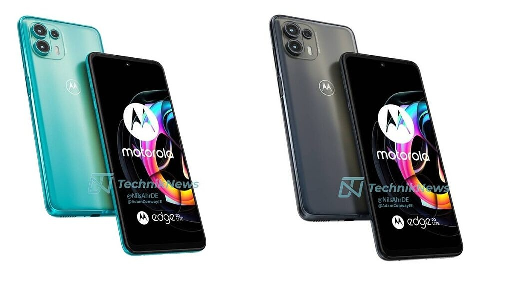 Motorola Edge 20 Lite shown in blue and gray colors