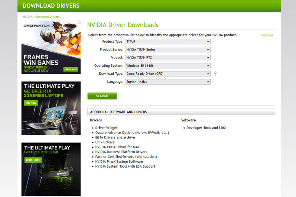 nvidia graphics driver page