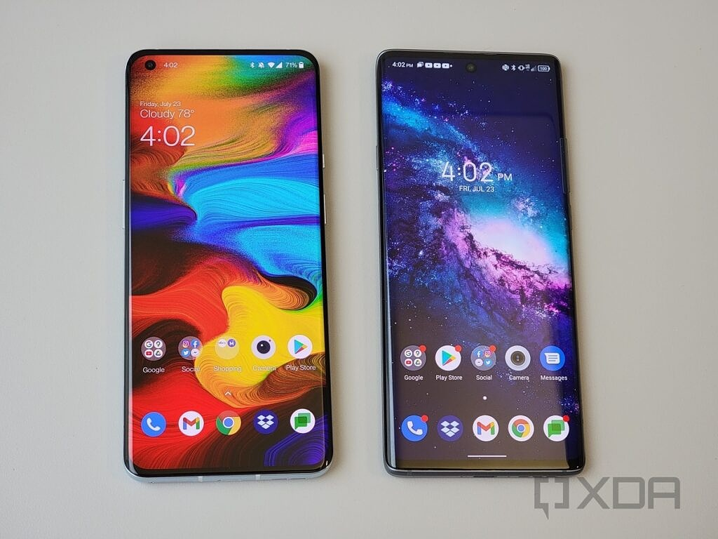 OnePlus 9 Pro 5G vs TCL 20 Pro 5G side by side tight