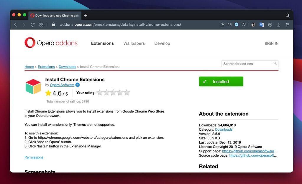 Opera - Install Chrome Extensions