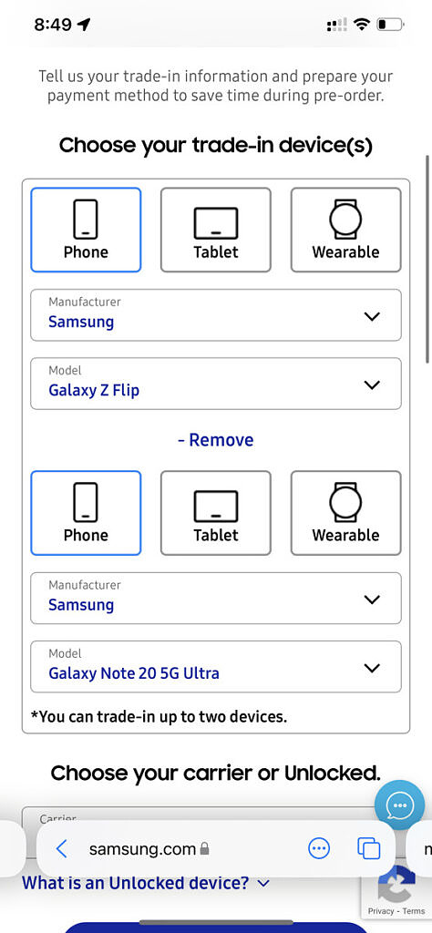 Samsung Galaxy Z Fold 3 reservation page for reservations