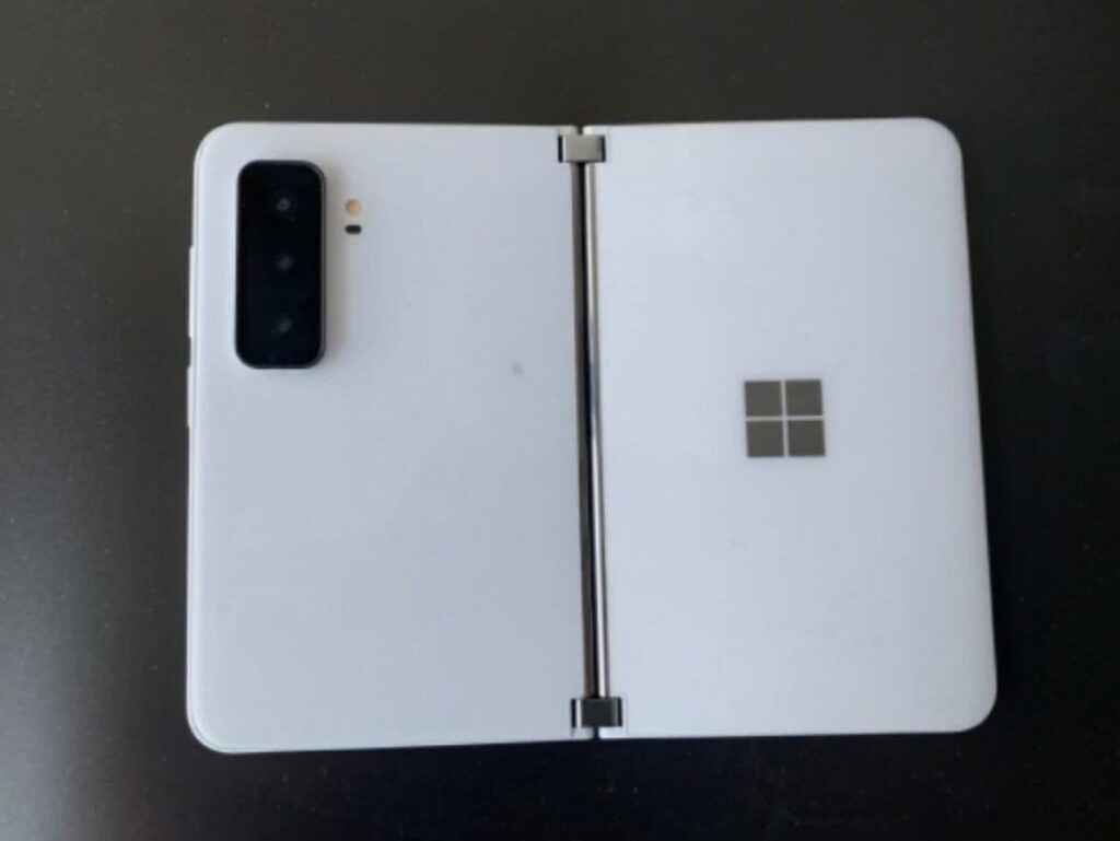 Surface Duo 2 showing triple-lens camera