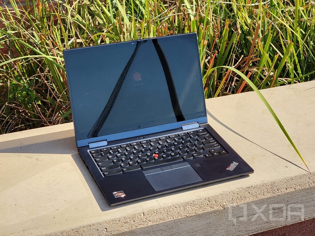 Chromebook S13 open to the outside