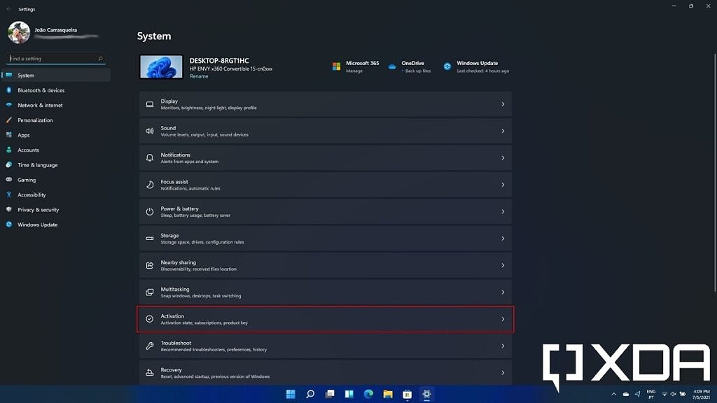Windows 11 settings with activation option highlighted