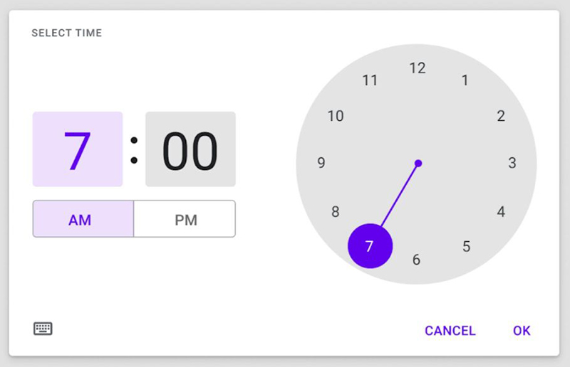 Android Material You time picker UI landscape