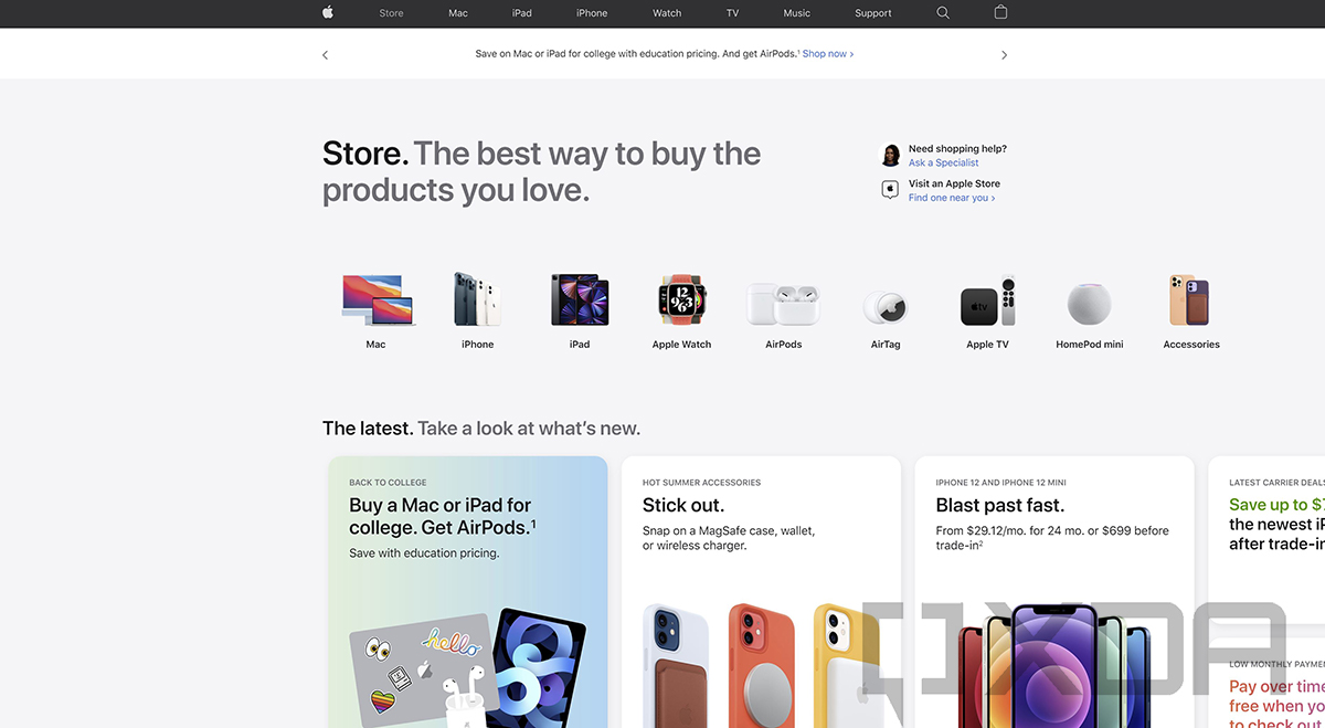Apple redesigns its online store with an actual dedicated store