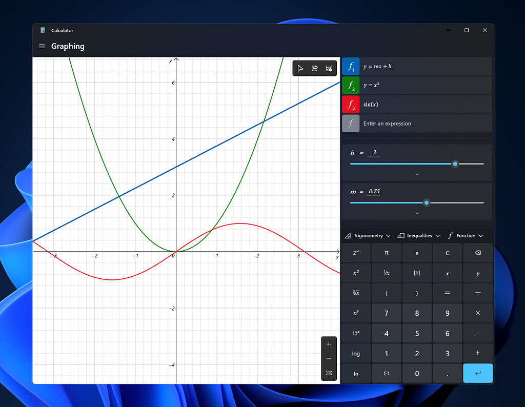 Graphing Calculator in Windows 11