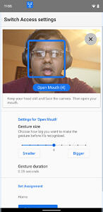 Open mouth gesture for camera switches