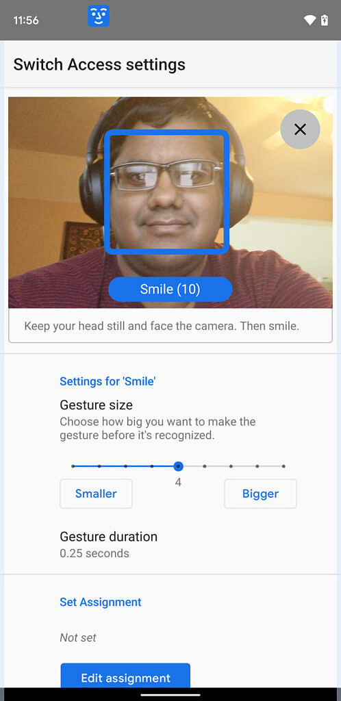 Smile settings for camera switches