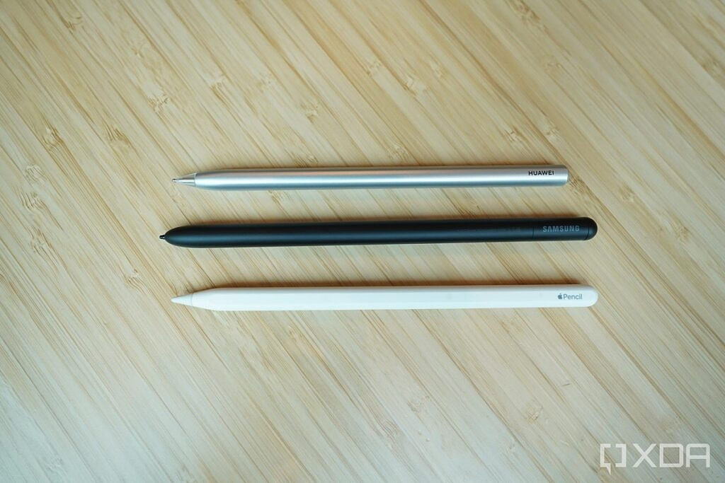 The S-Pen Pro (middle), with the Apple Pencil and Huawei M-Pencil.
