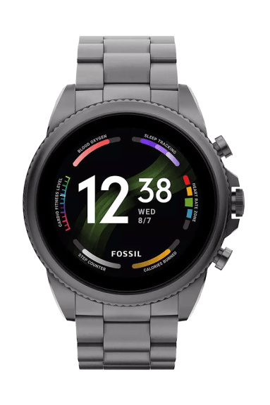 Fossil Gen 6 smartwatch for men with gray stainless steel strap