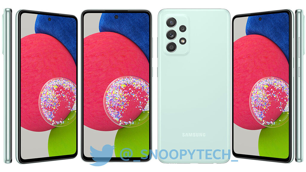 Samsung Galaxy A52s shownig the front and back in Mint color