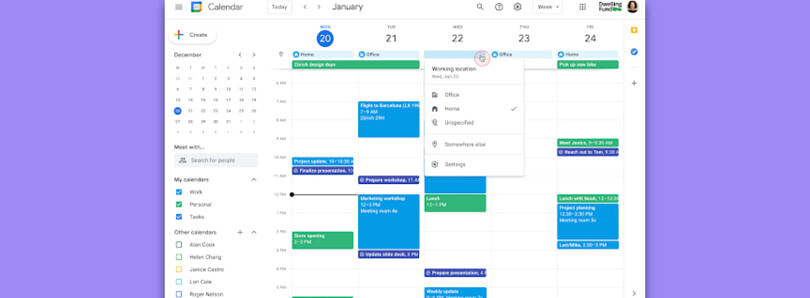 Google Calendar will soon let you specify where you're working from each day